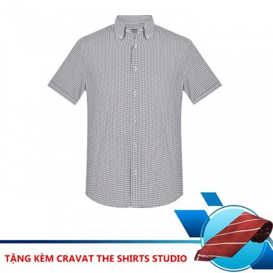 (Mua áo tặng cà vạt) áo sơ mi nam tay ngắn họa tiết The Shirts Studio Hàn Quốc TD42F2118BR095