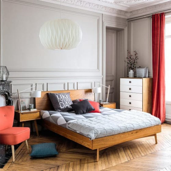 Giường pano đôi Portobello phong cách Vintage gỗ tự nhiên 2m