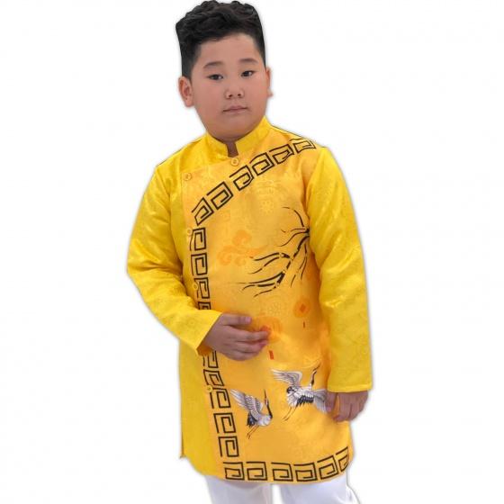 Sét áo dài gấm bé trai họa tiết đèn lồng kèm quần Vinakids màu vàng (2-14 tuổi)