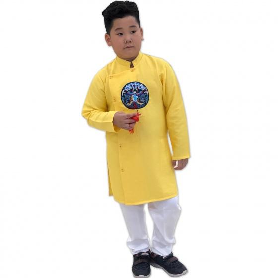 Sét áo dài gấm bé trai họa tiết thêu đắp phối dây kèm quần Vinakids màu vàng (2-14 tuổi)