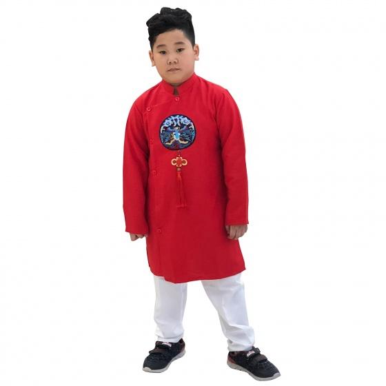 Sét áo dài gấm bé trai họa tiết thêu đắp phối dây kèm quần Vinakids màu đỏ (2-14 tuổi)