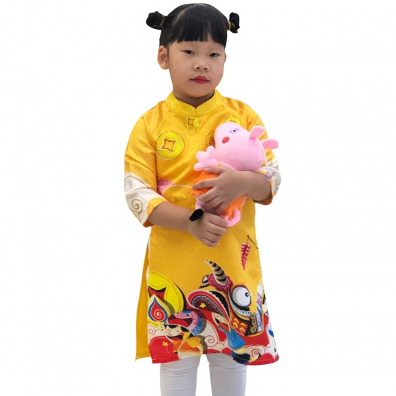 Áo dài gấm cách tân bé gái 3D Vinakids màu vàng (2-14 tuổi)