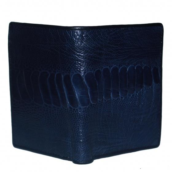 Bóp nam Huy Hoàng da đà điểu da chân kiểu đứng màu xanh đậm HV2434