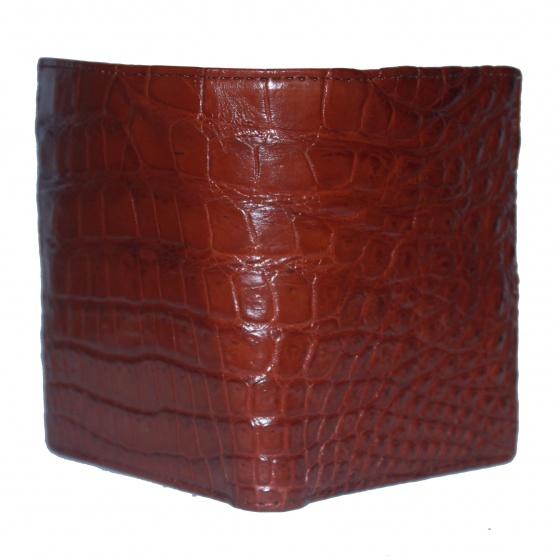Bóp nam Huy Hoàng da cá sấu Vip 2 mặt da kiểu đứng màu nâu đỏ HV2758