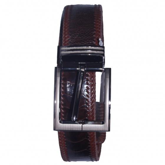 Dây nịt nam da đà điểu Huy Hoàng đan viền 4P đầu kim màu nâu đất HV4463