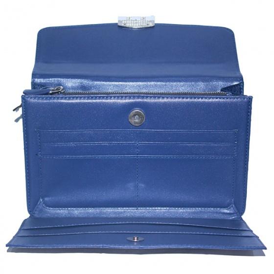 Túi cầm tay nữ Huy Hoàng da đà điểu màu xanh đậm HV6456
