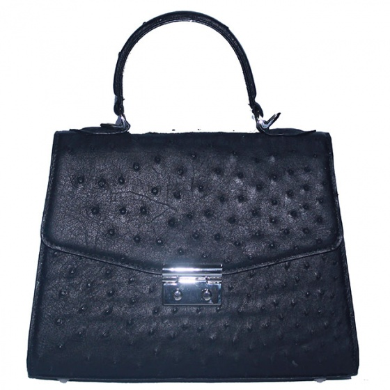 Túi hộp đeo chéo nữ Huy Hoàng da đà điểu màu đen HV6457