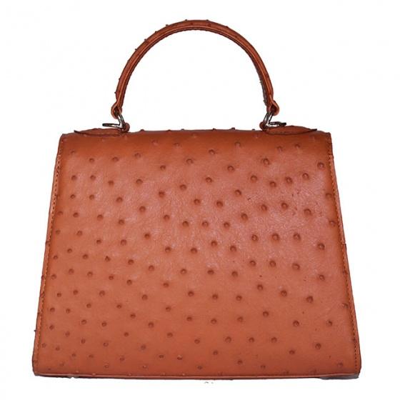 Túi hộp đeo chéo nữ Huy Hoàng da đà điểu màu vàng bò HV6459