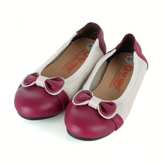 Giày trẻ em nữ Huy Hoàng da bò màu trắng phối đỏ đô HV7865