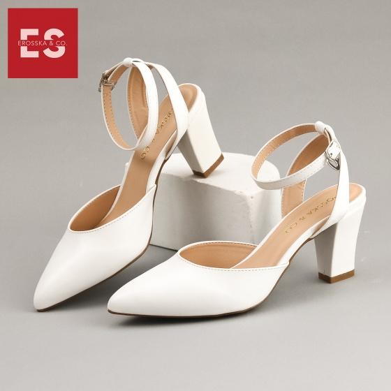 Giày nữ, giày cao gót kitten heels Erosska bít mũi phối dây thời trang cao 7 cm EK008 (màu trắng)