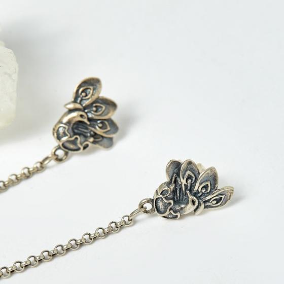 Bông tai bạc Khổng Tước đá thạch anh tóc vàng 62mm mệnh thủy, kim - Ngọc Quý Gemstones