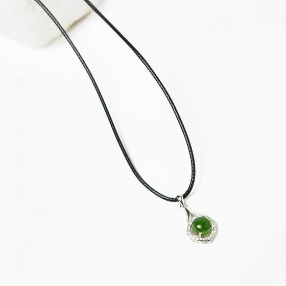 Mặt dây chuyền hoa văn ngọc bích 12.3x20.8mm mệnh hỏa, mộc - Ngọc Quý Gemstones