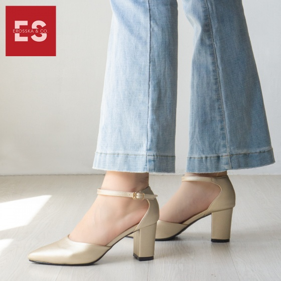 Giày nữ, giày cao gót kitten heels Erosska bít mũi phối dây thời trang cao 7 cm EK010 (màu sọc trắng đen)