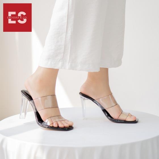 Dép cao gót quai trong đế trụ thời trang Erosska cao 9cm EM026