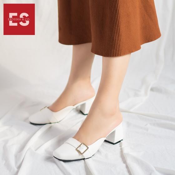 Dép nữ mũi vuông thời trang Erosska gót vuông cao 5cm trang trí khoá vuông tinh tế EM027 (màu trắng)