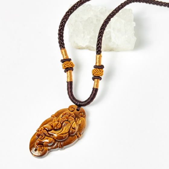 Mặt dây chuyền tỳ hưu đá thạch anh mắt hổ vàng nâu 42x22mm mệnh thổ, kim - Ngọc Quý Gemstones