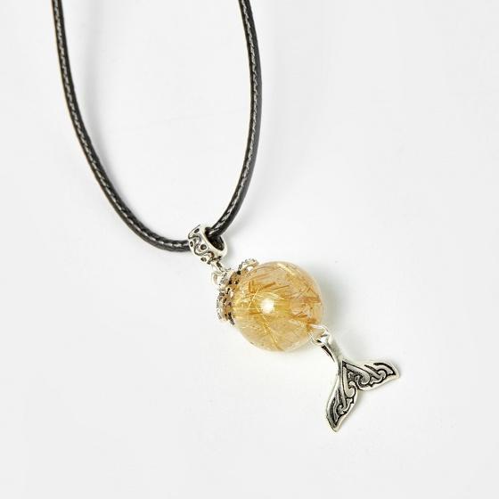 Dây chuyền mặt thạch anh tóc vàng phối charm bạc 50cm mệnh thủy, kim - Ngọc Quý Gemstones