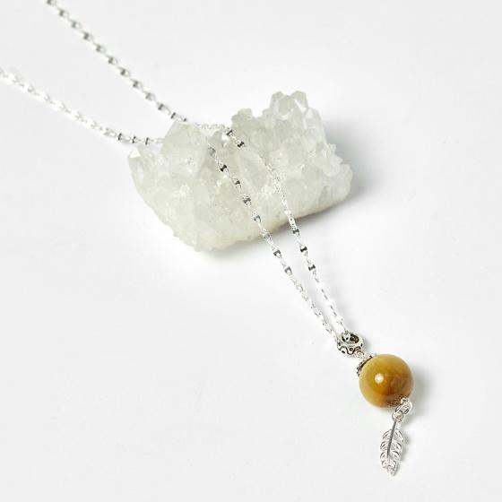 Mặt dây chuyền đá thạch anh mắt hổ vàng tâm 50cm mệnh thổ, kim - Ngọc Quý Gemstones