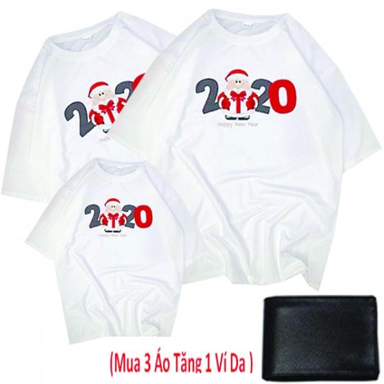 Bộ 3 áo thun 4 chiều - áo gia đình mùa tết và noel 2020 thương hiệu Dokafashion (tặng 1 ví da) - TN54
