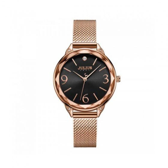 Đồng hồ nữ ja-1210d julius hàn quốc dây thép mặt đen