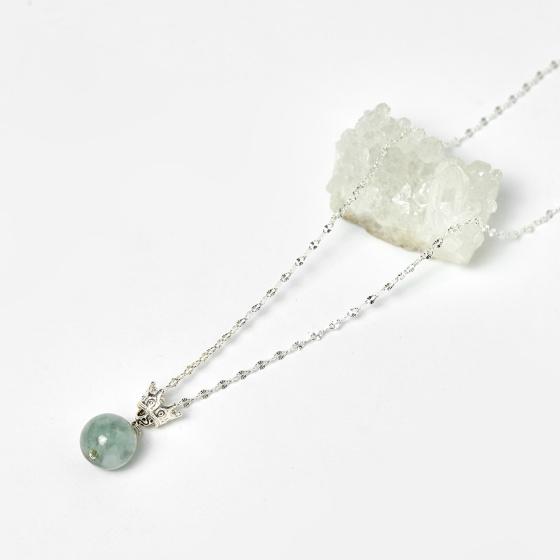 Mặt dây chuyền đá cẩm thạch phỉ thúy dây 50cm mệnh hỏa, mộc - Ngọc Quý Gemstones