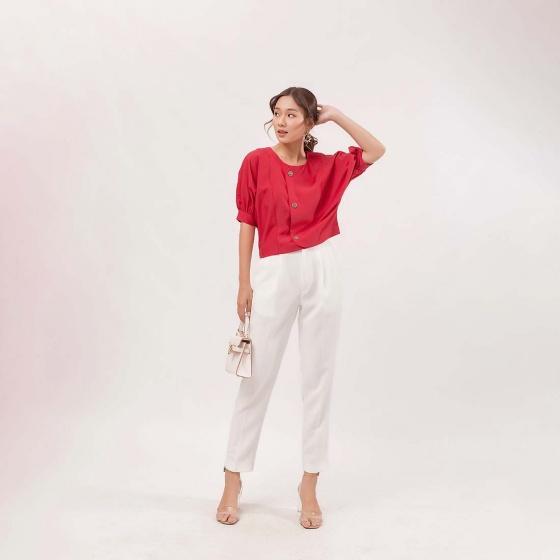 Áo kiểu thời trang Eden tay cánh dơi phối nút - ASM068