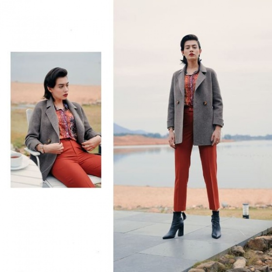 Áo khoác dạ lông cừu khâu tay màu nâu HeraDG - WAM19019