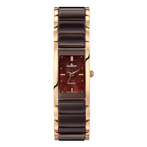 Đồng hồ nữ Dugena Quadra Ceramica 4460769 dây kim loại mặt chữ nhật