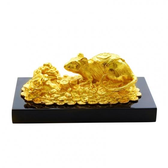Tượng Chuột chiêu tài tấn lộc mạ vàng 24K