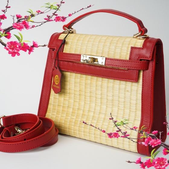 Túi cói thời trang màu đỏ NORD116