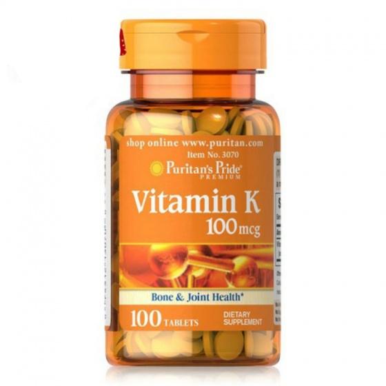 Viên uống đẹp da hỗ trợ đông máu chắc xương Vitamin K 100mg puritan's pride loại 100 viên