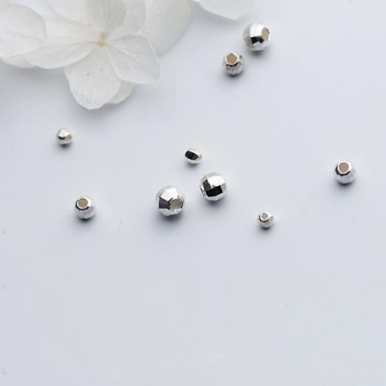 Charm bi bạc đa giác trơn xỏ ngang 5mm - Ngọc Quý Gemstones