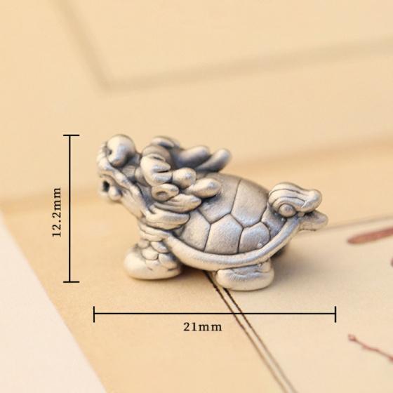 Charm bạc long quy xỏ ngang 21x12.2mm - Ngọc Quý Gemstones