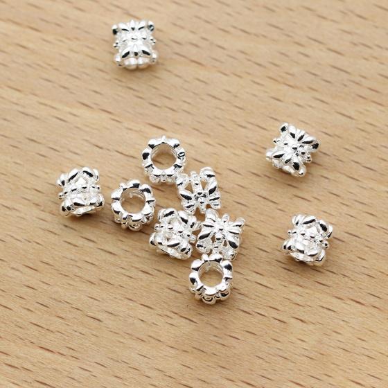 Charm bạc trắng chặn hạt hình trụ họa tiết 5.5mm - Ngọc Quý Gemstones