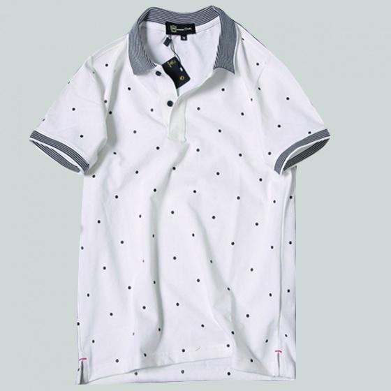 Áo phông nam có cổ polo có họa tiết chấm bi Dokafashion - SBT102