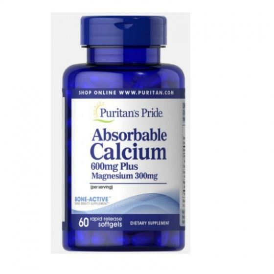 Viên uống canxi dễ hấp thu ngừa loãng xương không kích ứng dạ dày - Absorbable Calcium magnesium Puritan's Pride 60 viên