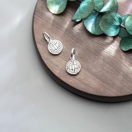 Charm bạc trắng tròn hình chữ hỷ treo 7.5x10mm - Ngọc Quý Gemstones