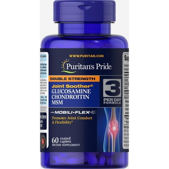 Viên uống giảm đau sưng khớp viêm khớp thoái hóa khớp Puritan's Pride Double strength glucosamin chondroitin MSM 60 viên