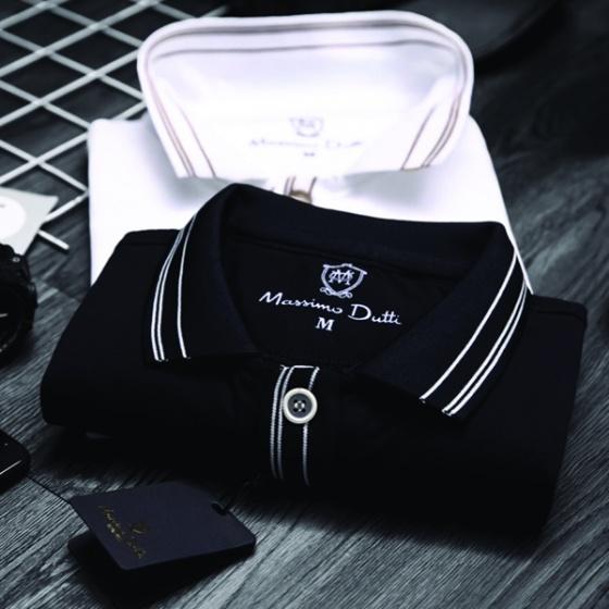 Áo phông nam có cổ polo phối cổ và tay áo dokafashion màu đen - SBT 302