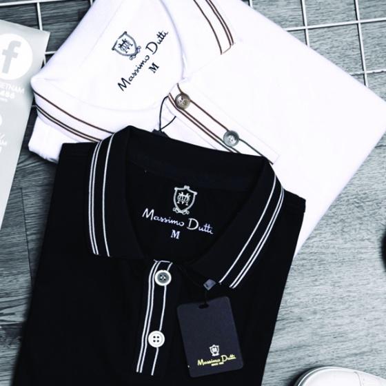 Bộ 2 áo phông nam có cổ polo phối cổ và tay áo dokafashion có màu trắng, đen - SBT 303