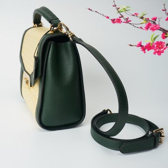 Túi cói thời trang màu xanh rêu NORD110