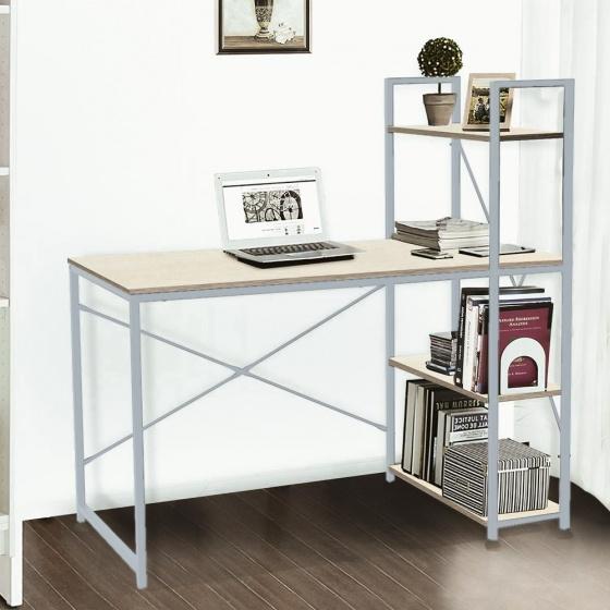Bàn văn phòng, bàn vi tính, bàn học có kệ sách đi kèm Kachi MK184 - màu xám