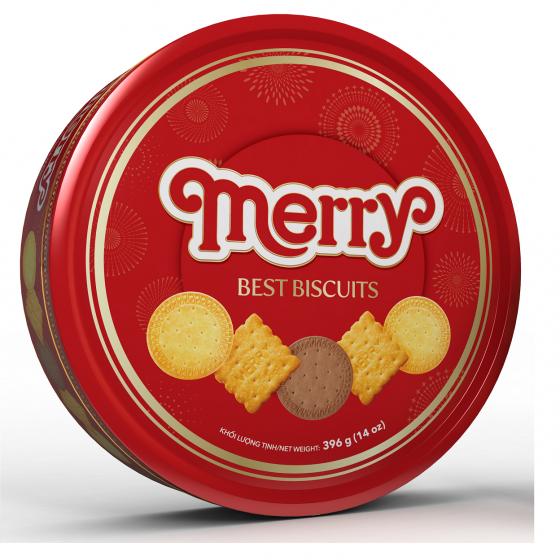 Hộp thiếc tròn Merry Best - Bánh quy thập cẩm 396g