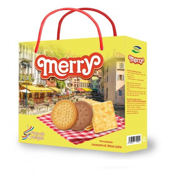 Bánh quy Merry thập cẩm Santa 408g (sữa dừa, sữa)