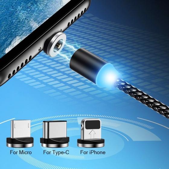 Cáp nam châm sạc nhanh Lightning US-SJ292 1m, 2.1A cho iPhone (Black)