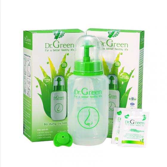 (New) combo 2 bình rửa mũi xoang Dr. Green (tặng kèm đầu rửa Silicon + 10 muối biển nha đam Dr.Green)
