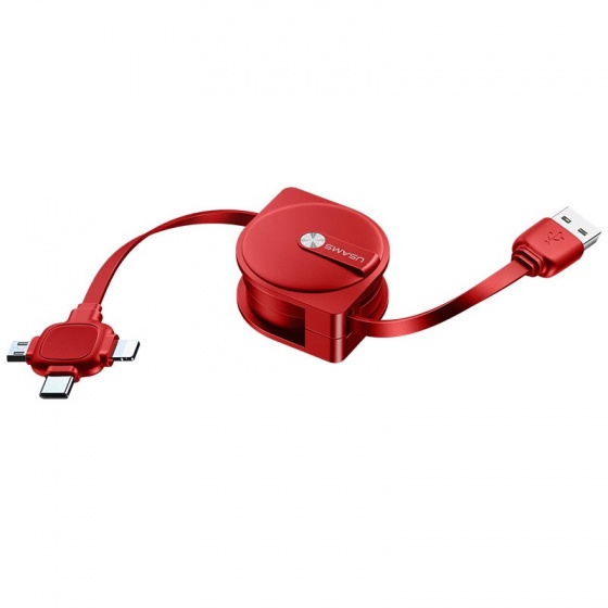 Cáp sạc dây rút 3 đầu Usams US-SJ263 U17 3 in 1 Storage Cable 1m (màu đỏ)