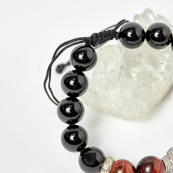 Vòng đá obsidian phối thạch anh mắt hổ nâu đỏ và charm phật hạt 10mm - Ngọc Quý Gemstones