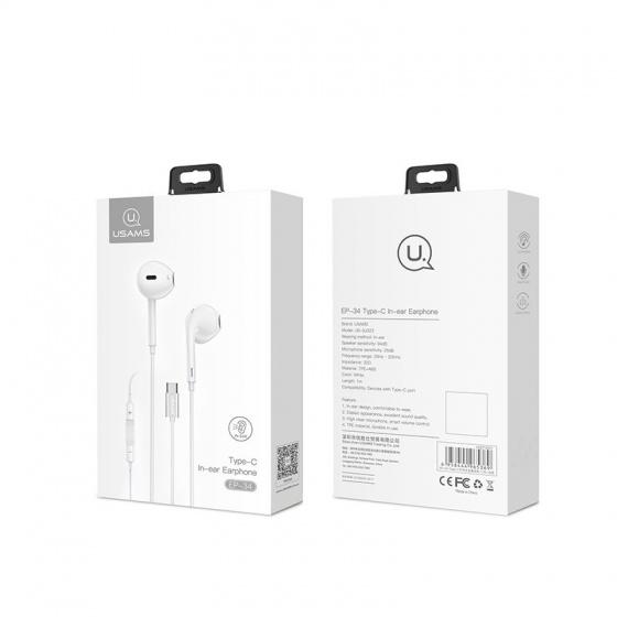 Tai nghe In-ear có dây đầu Type C Usams US-SJ323 EP-34 (màu trắng)