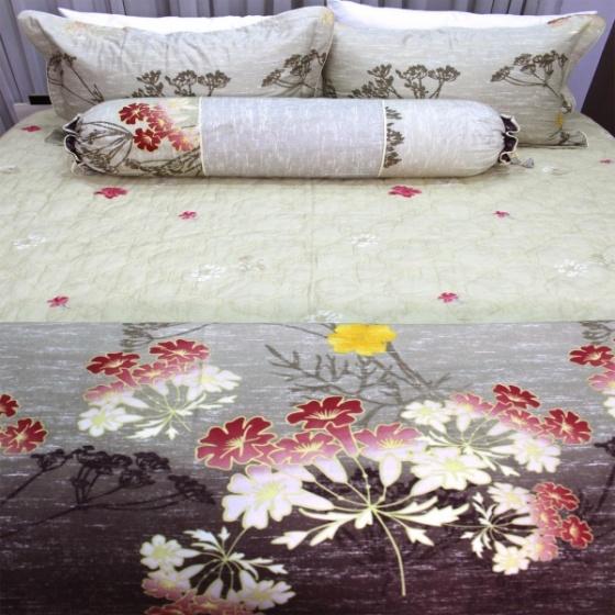 Bộ chăn ga gối 5 món cotton satin Hàn Julia 472BG18